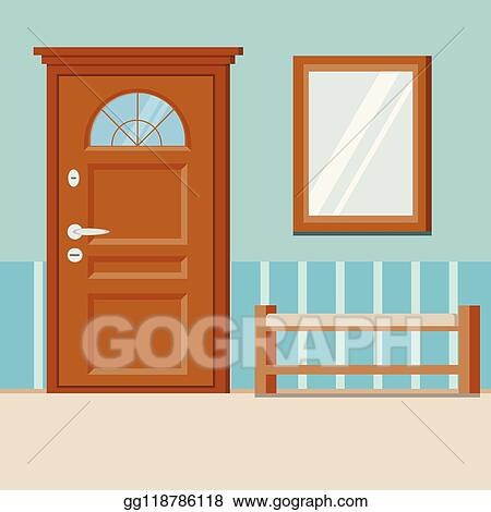 Eps Illustration Cozy Simple Home Entrance Hall Interior Background With Furniture Vector Clipart Gg118786118 Gograph