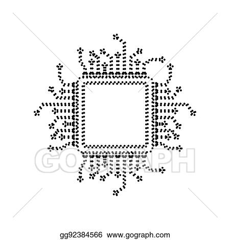 vector art cpu microprocessor illustration vector black dotted icon on white background isolated clipart drawing gg92384566 gograph cpu microprocessor illustration vector