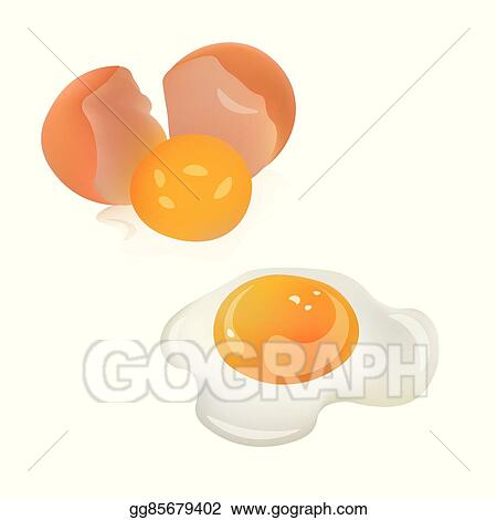 Vector Stock Cracked Broken Egg And Fried Egg Realistic