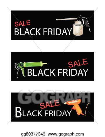 Vector Illustration Craft Tools On Three Black Friday Sale Banners