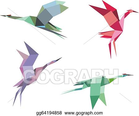Seamless Pattern Of Origami Flying Pigeons And Doves Cranes Herons