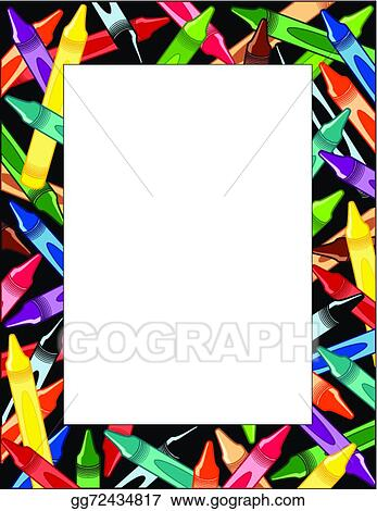 Vector art crayons frame eps clipart gg72434817 gograph vector art crayons frame multicolor border black background copy space for do it yourself announcements posters stationery scrapbooks solutioingenieria
