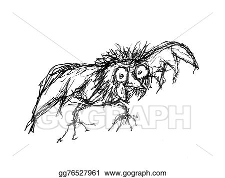 clipart pencil drawing raster illustration sketch alien bird with crazy expression in grayscale tones isolated in white background