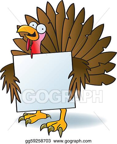 vector illustration crazy turkey with a sign eps clipart rh gograph com funny thanksgiving clipart images funny thanksgiving clipart images