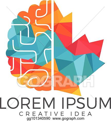 Creative Brain And Maple Leaf Logo Design