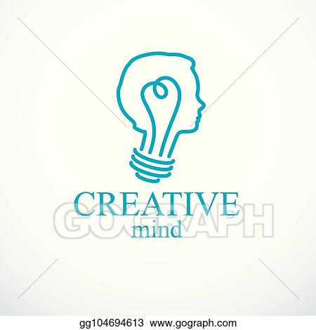Creative Brain Concept Intelligent Person Vector Logo Light Bulb In A Shape Of Child Head Profile Bright Mind Thinking And Brainstorming Idea Icon