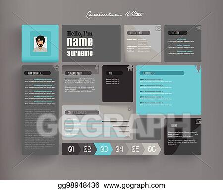 Vector Stock Creative Curriculum Vitae Template With Tiles