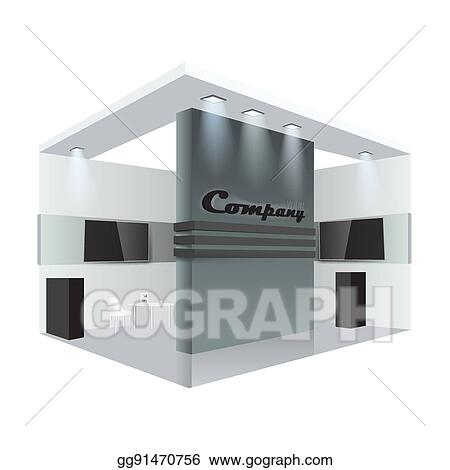 Exhibition Stall Icon : Eps vector creative exhibition stand design booth template