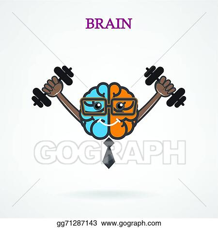 Vector Stock Creative Left And Right Brain Sign With The Barbell On Background Stock Clip Art Gg71287143 Gograph