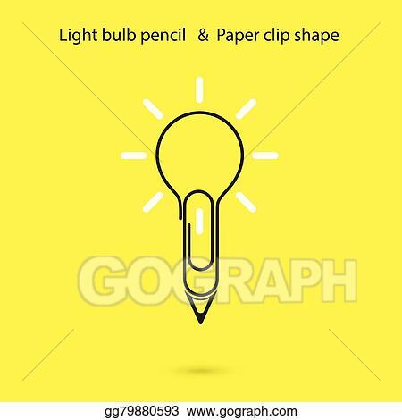 Vector Stock - Creative light bulb pencil logo design,paper clip ...