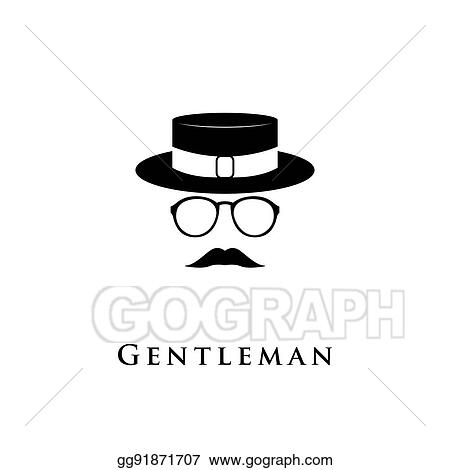 3de37173 Vector Art - Creative logo gentleman with a mustache, hat and ...
