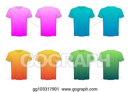 d6a7f71e8 Creative vector illustration of colored T-shirts Set isolated on  transparent background. Art design blank mockup advertising template.