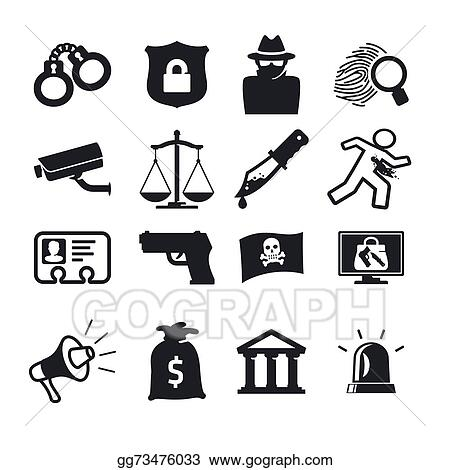 vector art crime icons clipart drawing gg73476033 gograph rh gograph com clipart crime scene crime prevention clipart free
