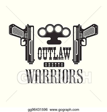 Vector Illustration Criminal Outlaw Street Club Black And White