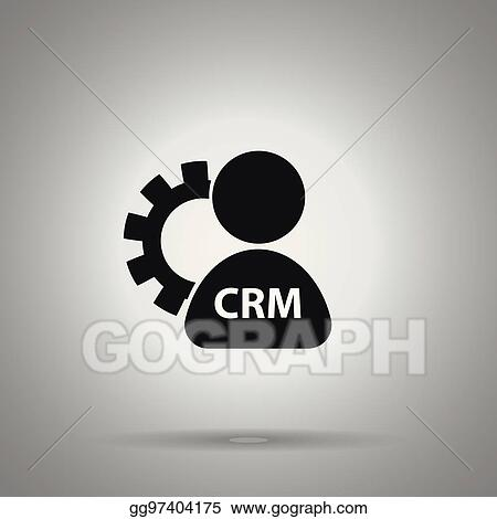 Vector Illustration Crm Icon Gear And Crm Worker Optimization