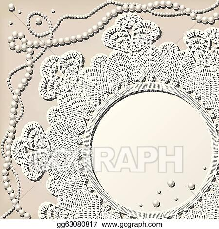 Vector Art Crochet Doily With Pearl Necklace Clipart
