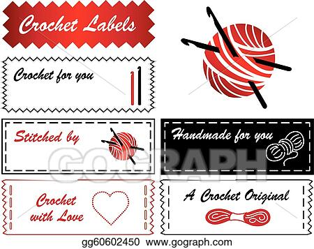 Vector illustration crochet labels eps clipart gg60602450 gograph skeins balls of yarn and a big heart copy space to add your name for crochet tatting making lace and do it yourself fashion projects solutioingenieria Images