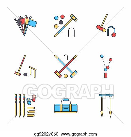 Vector Clipart Croquet Sport Game Vector Line Icons Ball Mallets
