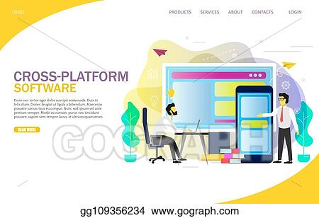 EPS Vector - Cross-platform software landing page website vector