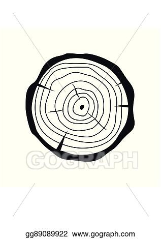 Vector Art Cross Section Of Tree Stump In Flat Style Isolated On