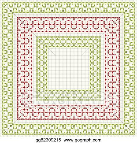 Eps Illustration Cross Stitch Embroidery Set Of Borders Vector