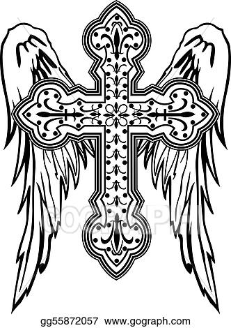 Vector Illustration - Cross with wing tribal design. EPS ...