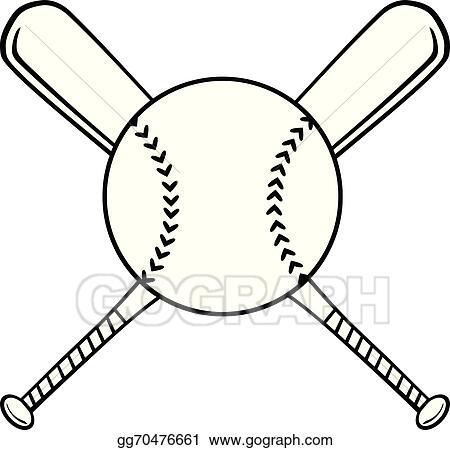 93901081ea9 Vector Illustration - Crossed baseball bats and ball . Stock Clip ...