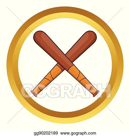 Vector Illustration Crossed Baseball Bats Vector Icon Stock Clip