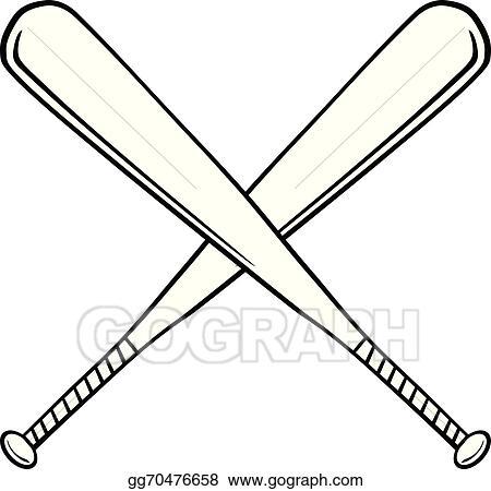 Clip Art Vector Crossed Baseball Bats Stock EPS Gg70476658 GoGraph