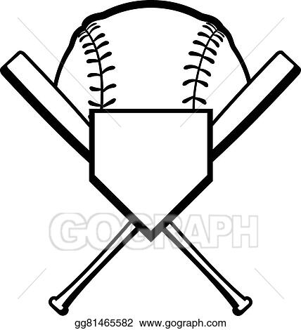 vector clipart crossed bats with baseball vector illustration rh gograph com crossed softball bats clipart crossed bats clipart