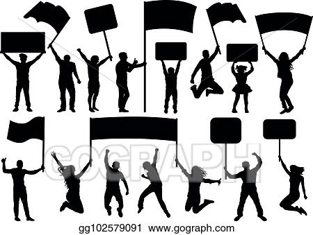 Vector Stock Crowd Of People Silhouette Set Banner Transparency Flag Concert Sport Party Demonstration Vector Isolated On White Background A Man And A Woman In A Jump Stock Clip Art Gg102579091