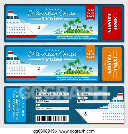 Vector Clipart - Cruise ship boarding pass ticket. honeymoon wedding ...