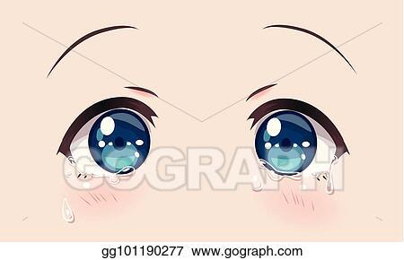 Vector Art Crying Eyes Anime Manga Girls Clipart Drawing