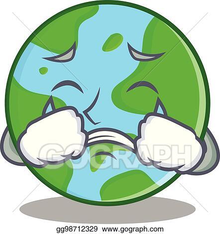 Clip Art Vector Crying World Globe Character Cartoon Stock Eps
