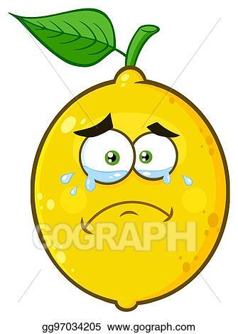 Crying Yellow Lemon Fruit Cartoon Emoji Face Character With Tears