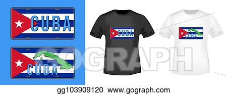 Vector Illustration Cuba Car Number Plate Stamp And T Shirt