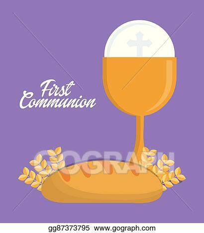 Vector Art - Cup bread gold religion icon  vector graphic