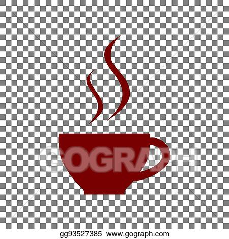 Cup Of Coffee Sign Maroon Icon On Transparent Background