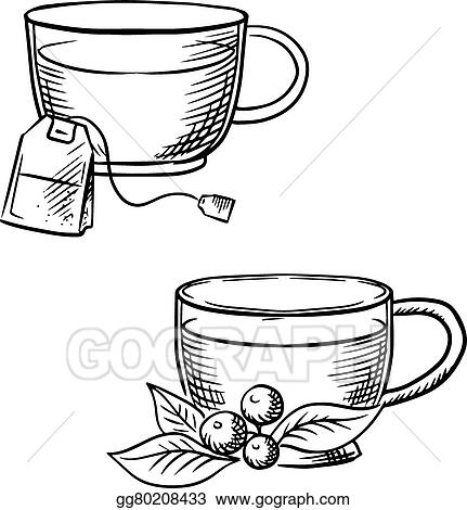 Vector Clipart - Cup of tea with teabag and cowberry sketches ...