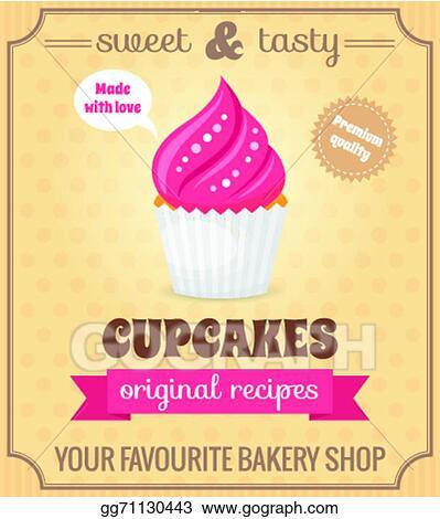 Sweet retro cupcake Royalty Free Vector Image - VectorStock