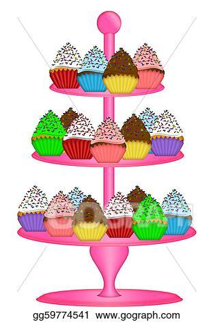 Stock Illustration - Cupcakes on three tier cake stand ...