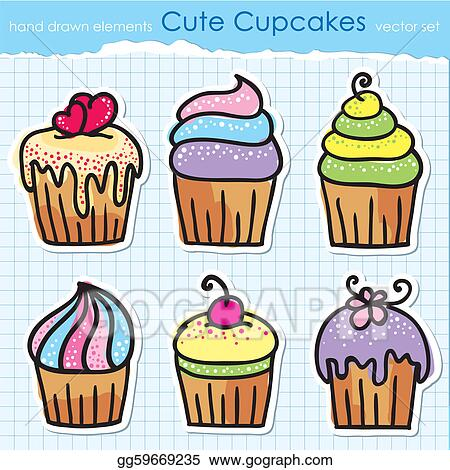 Vector Art Cupcakes Set Clipart Drawing Gg59669235 Gograph