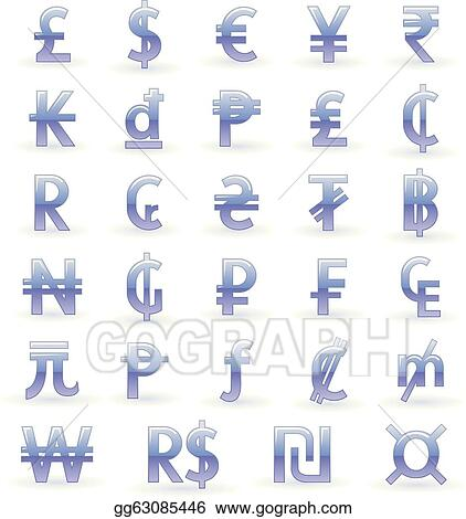 Vector Clipart - Currency symbols of the world  Vector Illustration
