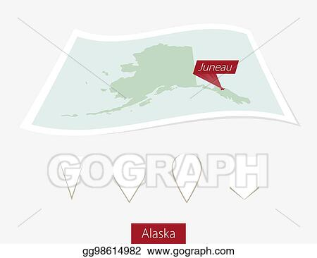 Vector Clipart Curved Paper Map Of Alaska State With Capital
