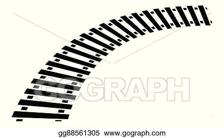 vector clipart curving train track rail track silhouette isolated rh gograph com train track clip art border train track clipart