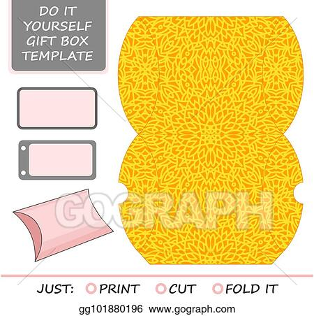 Vector Clipart Cut Out Box Template For Birthday Gift Vector