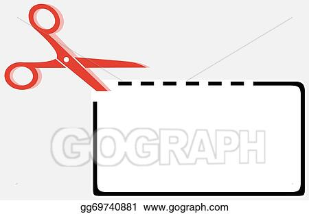 Vector Clipart Cut Out Coupon Rectangle Shape With Scissors Vector Illustration Gg69740881 Gograph