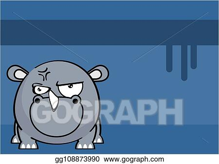 Clip Art Vector - Cute angry rhino ball style cartoon expression