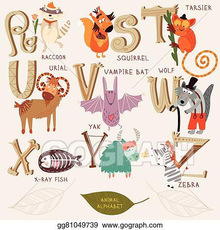 EPS Vector - Cute animal alphabet  r, s, t, u, v, w, x, y, z letters