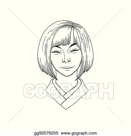 Vector Clipart Cute Asian Girl Vector Illustration